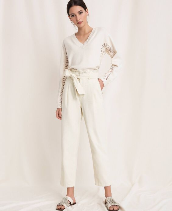 Canvas trousers with broderie anglaise