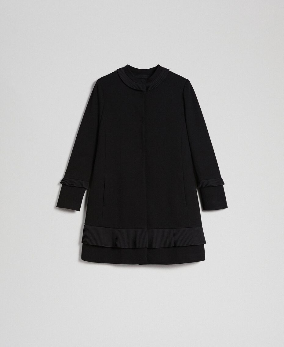 Coat with pleated detail Black Woman 192TT2060-0S