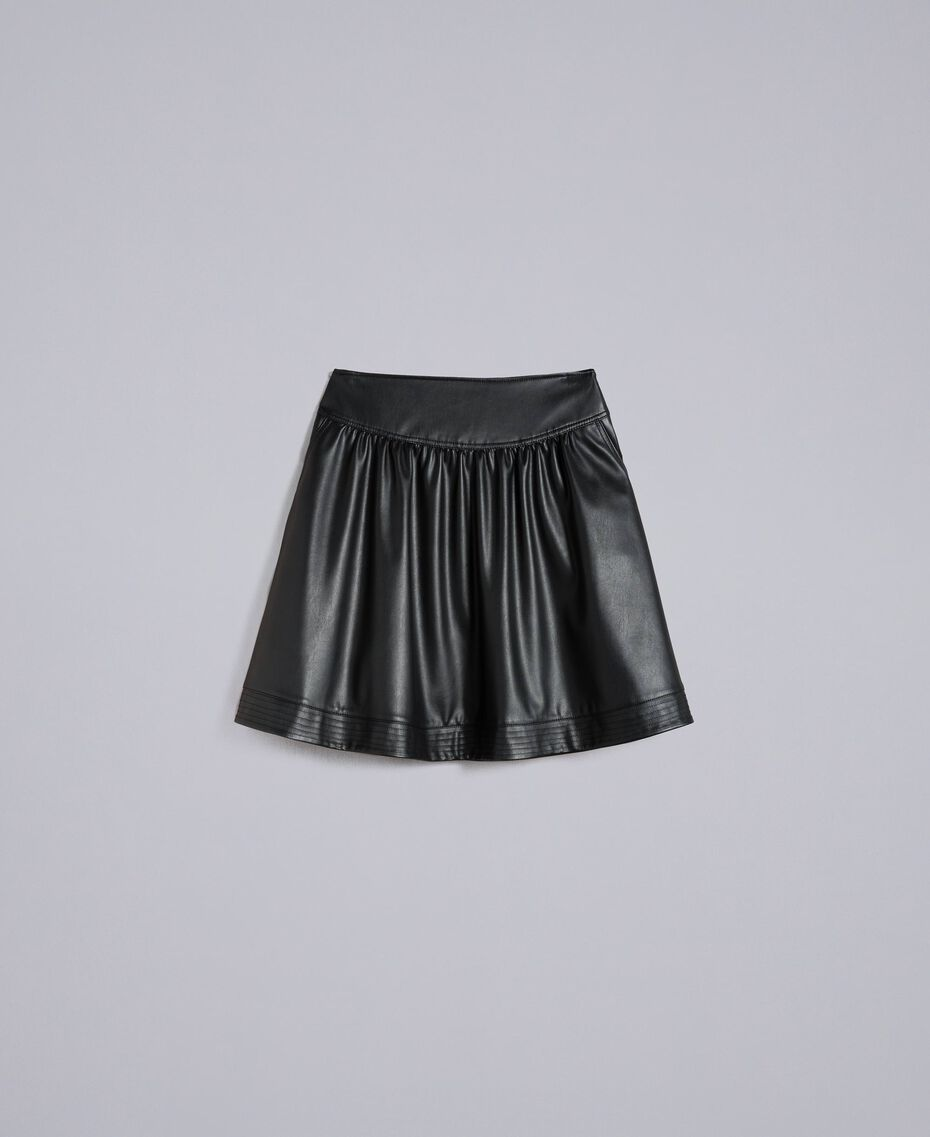 Tellerrock aus Lederimitat Schwarz Frau JA82DC-0S
