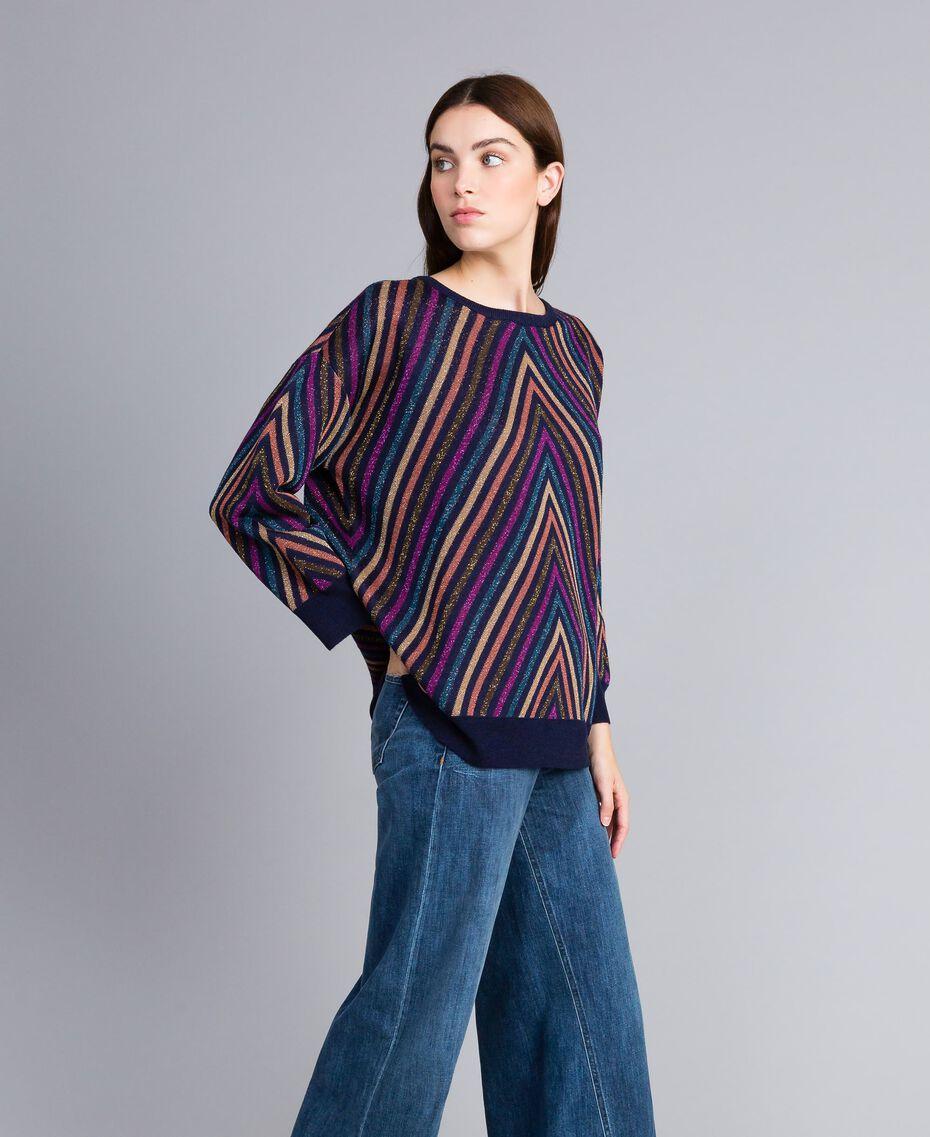 Pullover aus Lurexjacquard mit mehrfarbigem Streifenmuster Jacquard Blau / Lurexstreifen Frau TA838H-02