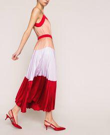 "Pleated long satin skirt Multicolour ""Lava"" Red / ""Ballerina"" Purple / Nude Pink Woman 201TP2313-02"