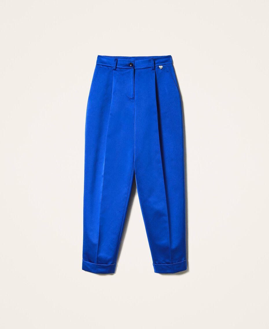 Hose aus Duchesse Dunkles Kornblumenblau Frau 202TP2457-0S