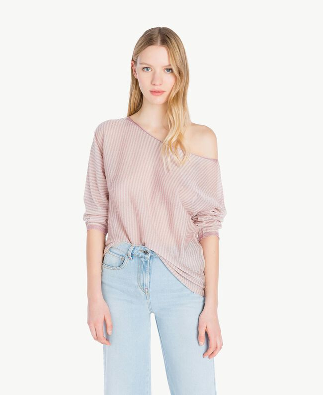 Pull rayures Rayure Rose « Hortensia » / Platine Femme PS83XP-01