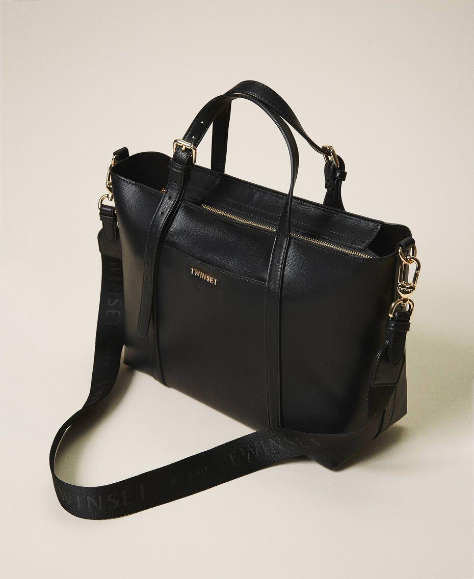 Faux leather shopping bag Black Woman 202TD8110-02