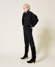 Carrot fit high waist jeans Black Denim Woman 212TP232C-02