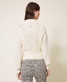 Wool blend biker jacket Parchment White Woman 202TT3191-03