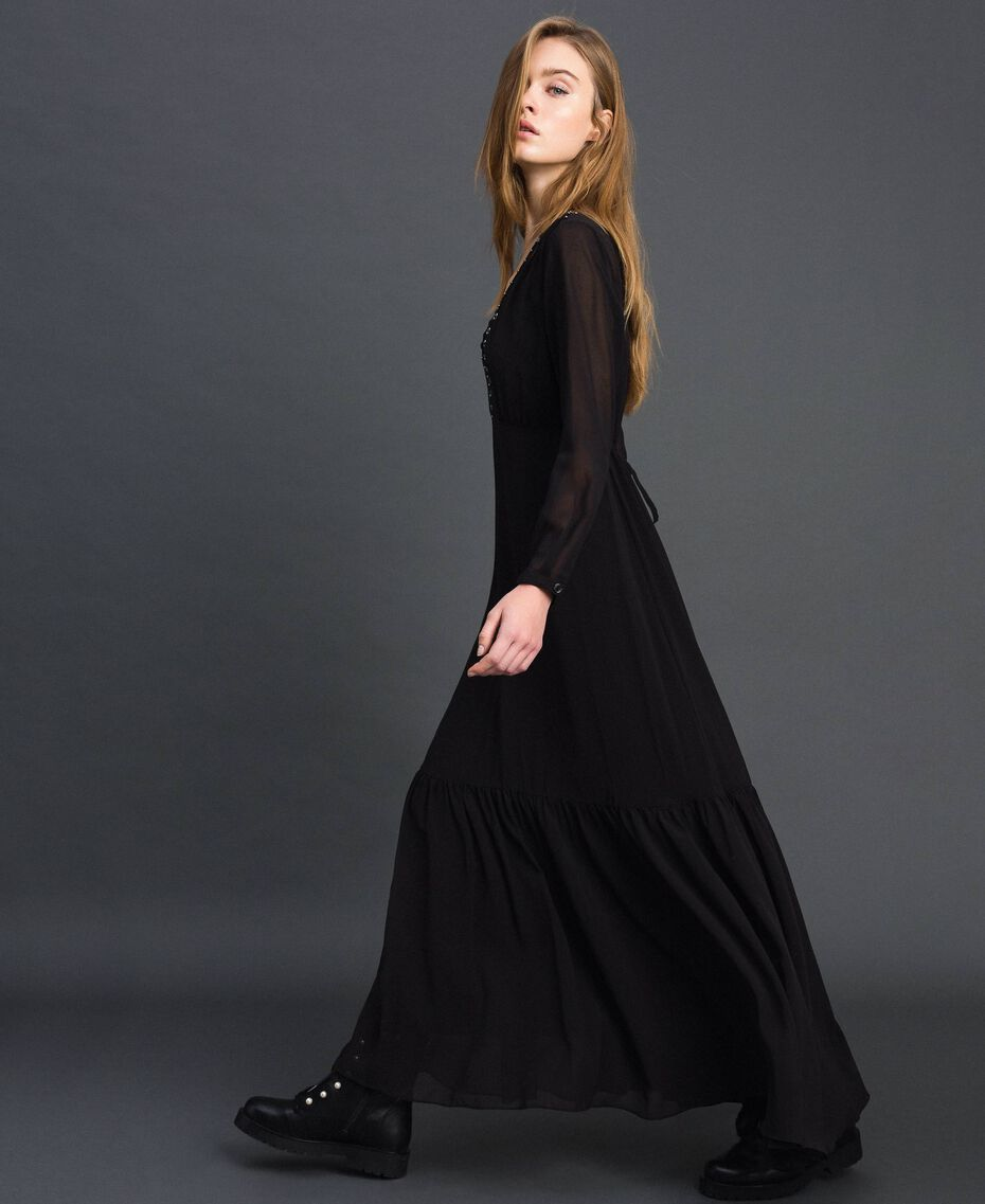 Long georgette dress with beads and studs Black Woman 192MP2481-02