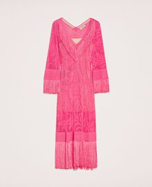"""Lace stitch dress with fringes """"Jazz"""" Pink Woman 201TT3010-0S"""