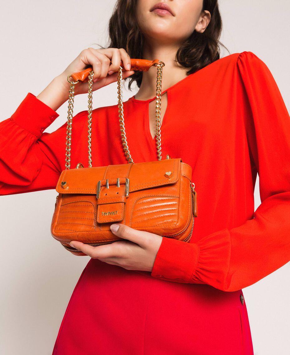 "Small Rebel leather shoulder bag ""Jasper"" Red Woman 999TA7237-0S"