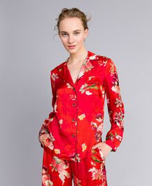 Floral print satin shirt Red Garden Print Woman PA829R-01