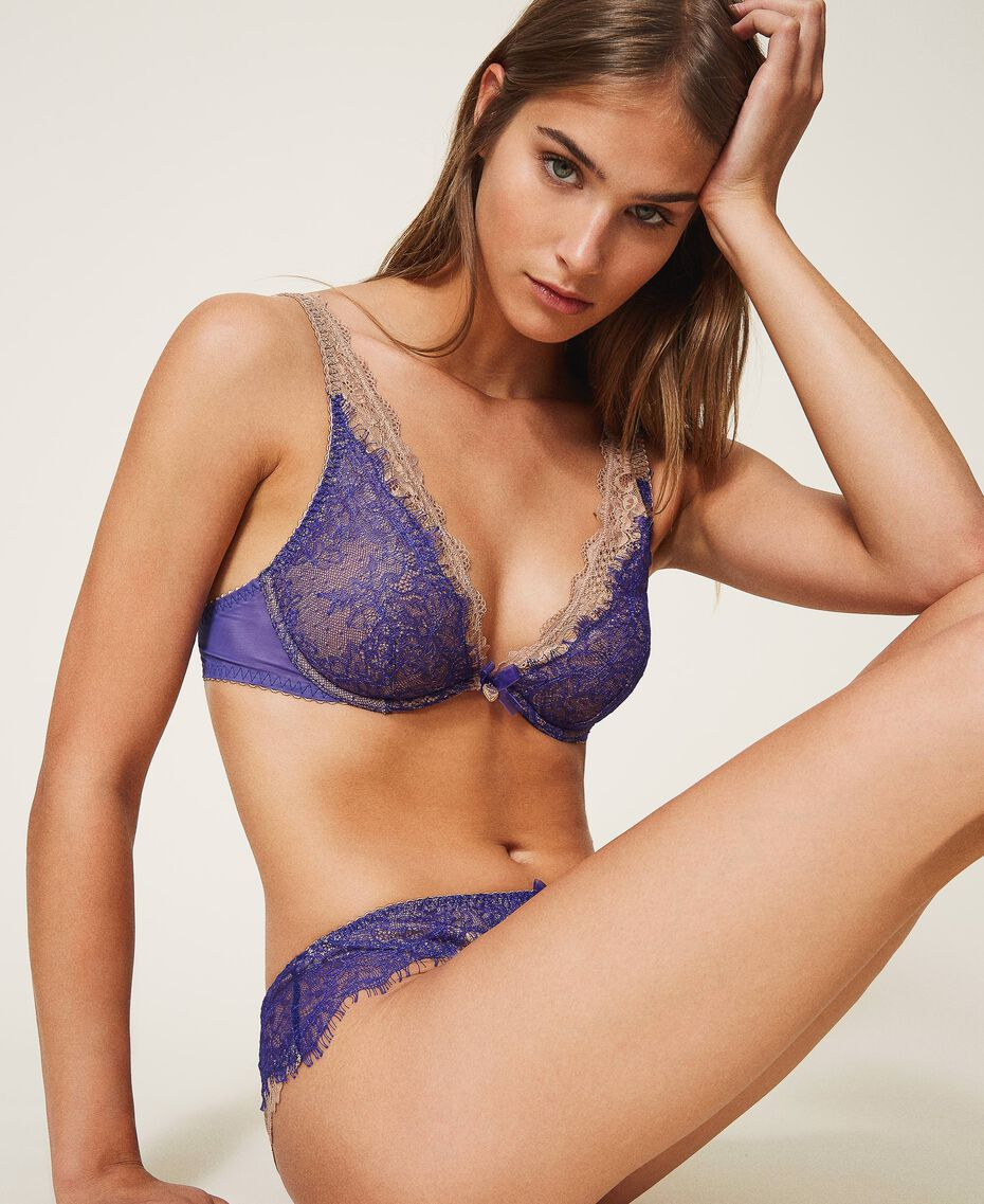 "Two-tone lace bralette Two-tone Violet Blue / ""Amber Dust"" Brown Woman 202LL6A33-01"