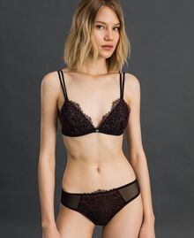 "Two-tone lace briefs Black / ""Dolly"" Pink Woman 192LI6466-02"