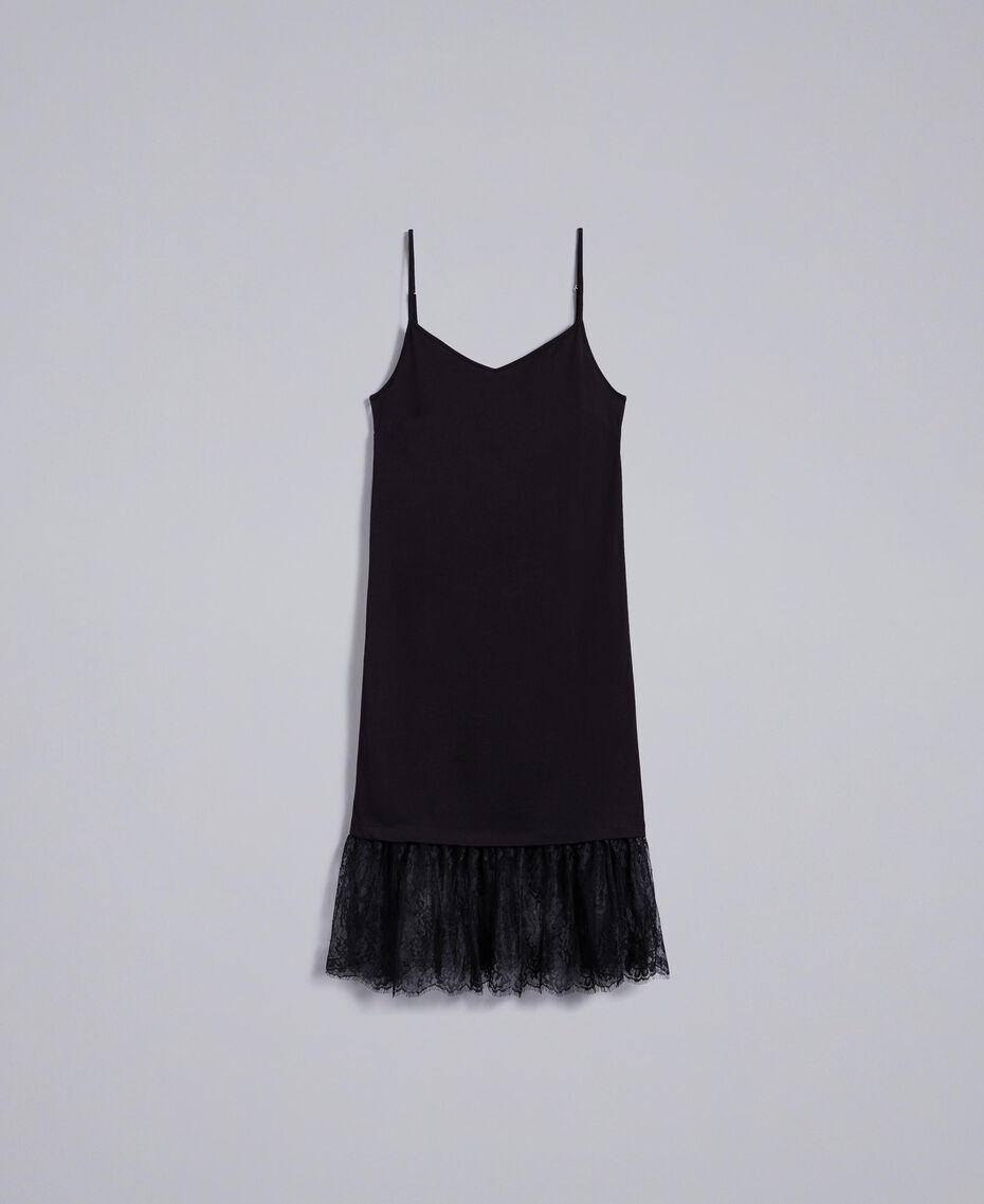 Kleid im Unterkleidstil aus Jersey mit Spitze Schwarz Frau PA82Z2-0S
