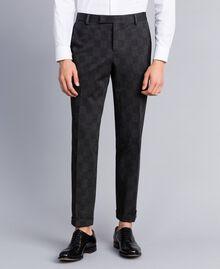 Completo giacca e pantalone stampato Stampa Quadri Grigio Melange Uomo UA82BN-05