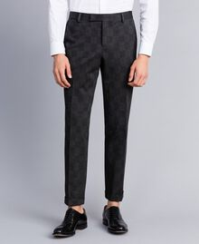 Anzug mit Print Grau melierter Karoprint Mann UA82BN-05