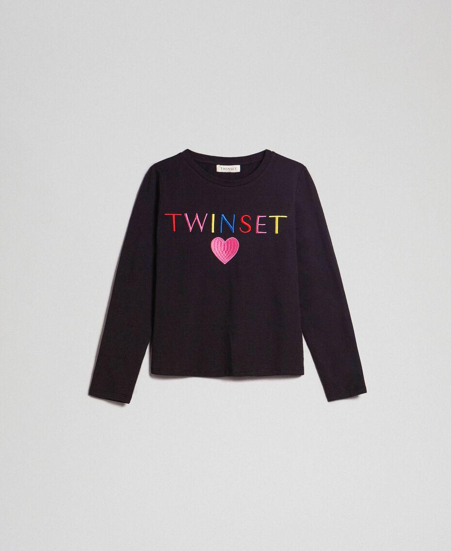 T-shirt with multicolour logo Black Child 999GJ2010-0S
