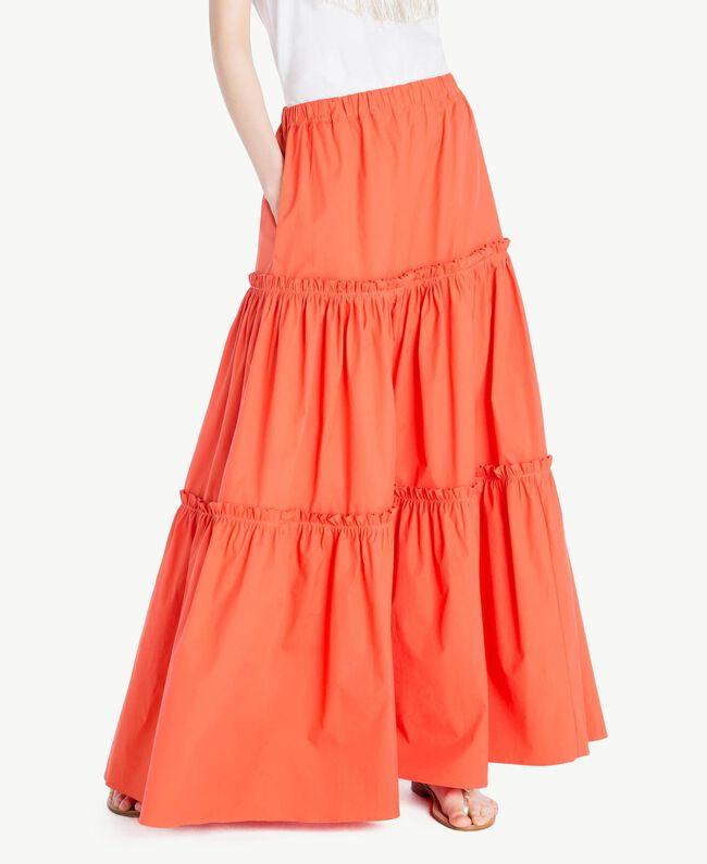 Long poplin skirt Orange Woman TS821V-01