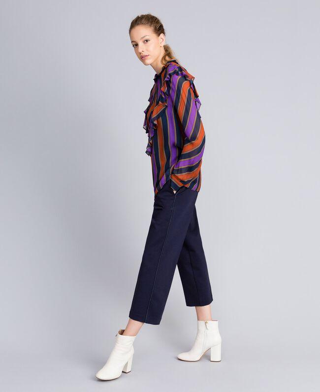 Blusa in georgette a righe Stampa Riga Multicolor Donna TA8291-03