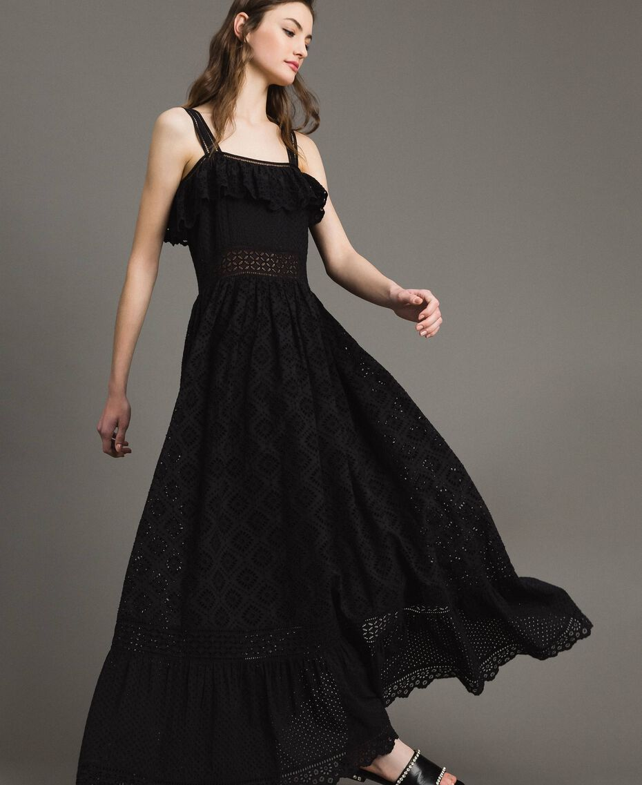 Long dress with broderie anglaise embroidery Black Woman 191TT2043-03