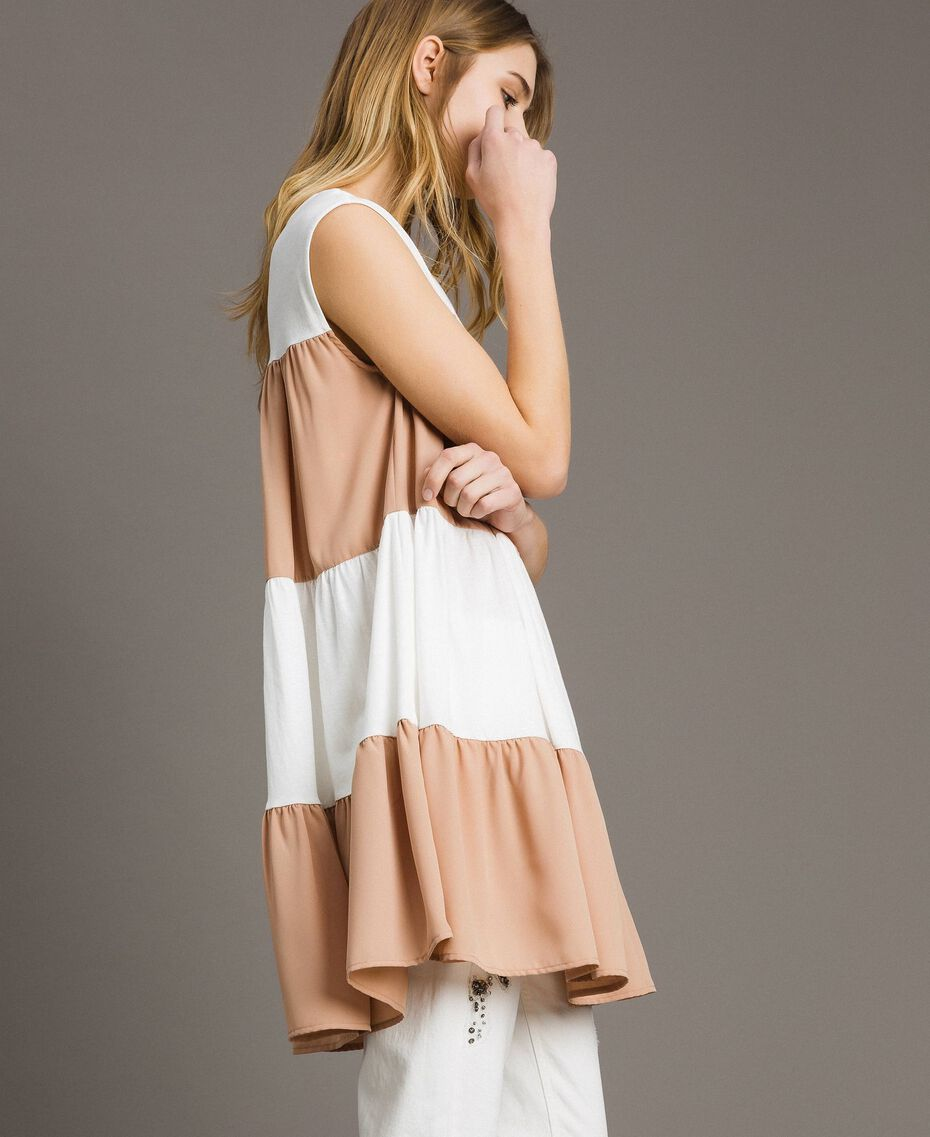 "Jersey and muslin mini dress Two-tone Ivory / ""Petra Sandstone"" Brown Woman 191LM2HHH-02"