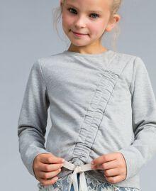 Felpa in cotone stretch con drappeggio Bicolor Grigio Chiaro Melange / Off White Bambina GA82GB-04