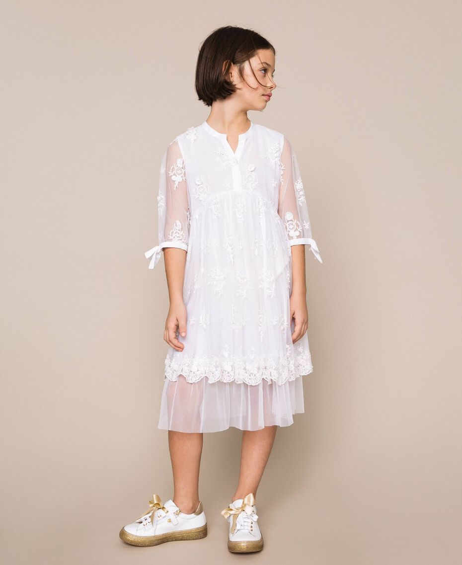 Embroidered tulle dress Off White Child 201GJ2Q60-01