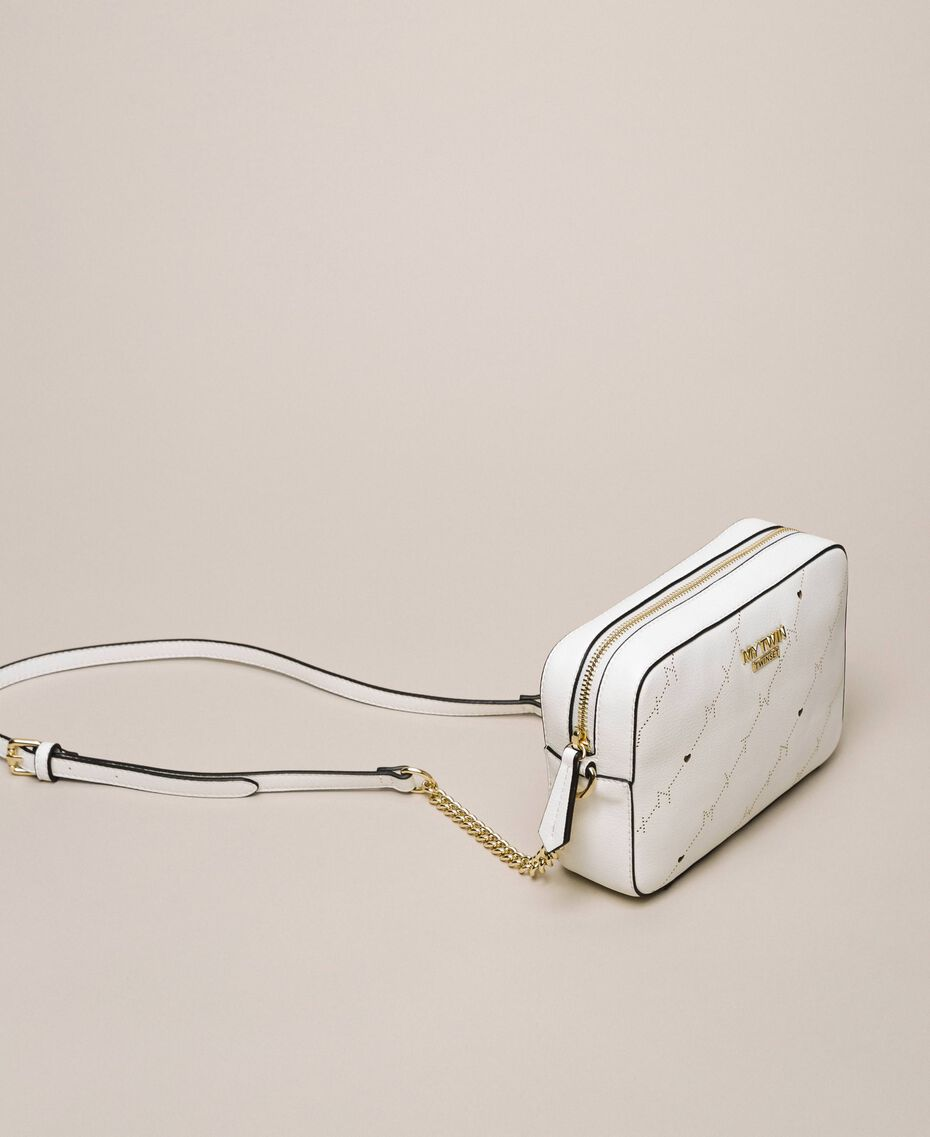 """Openwork faux leather shoulder bag """"Ice"""" White Woman 201MO8013-02"""