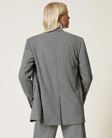 """Wool blend blazer with chevron pattern Black / """"Snow"""" White Chevron Woman 212TP2550-03"""