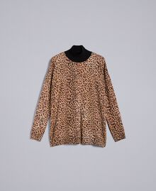 Animal print viscose blend mock neck jumper Maxi Animal Print Woman SA83KB-0S
