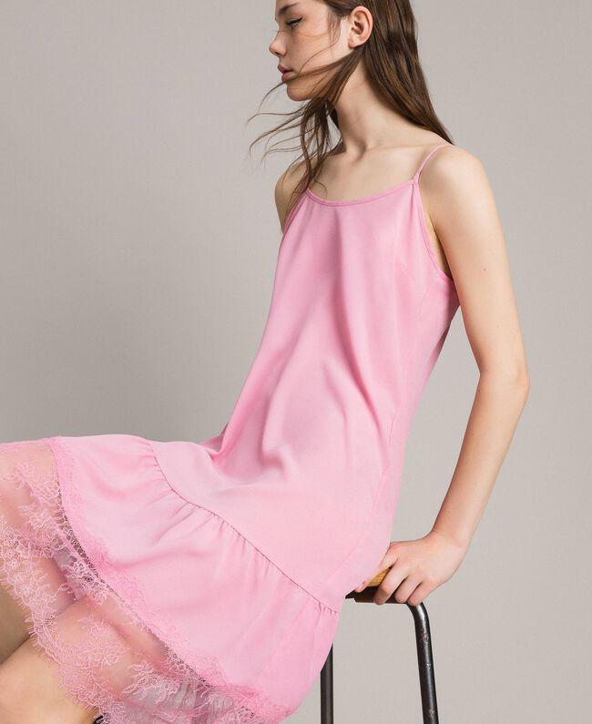Crêpe de Chine slip dress with lace Hydrangea Pink Woman 191MP2453-03