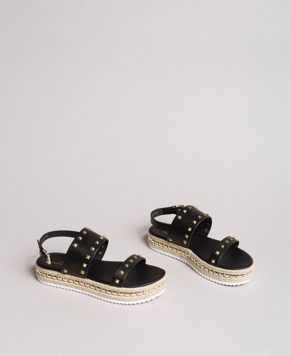 Sandales compensées à clous Noir Femme 191MCP230-01