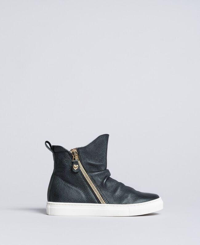Sneakers abotinadas de piel Negro Niño HA88B1-03