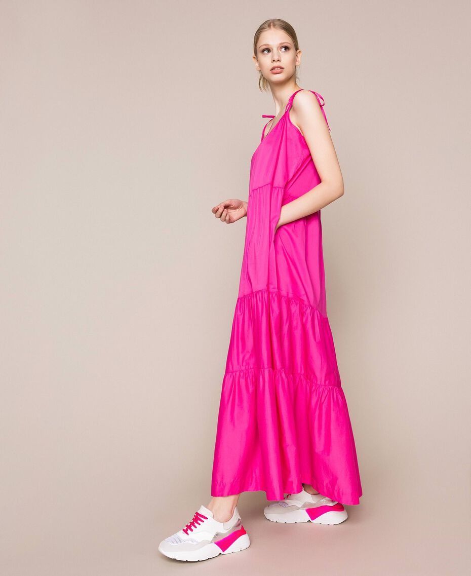 Long dress with flounces Shocking Pink Woman 201LM2AUU-02