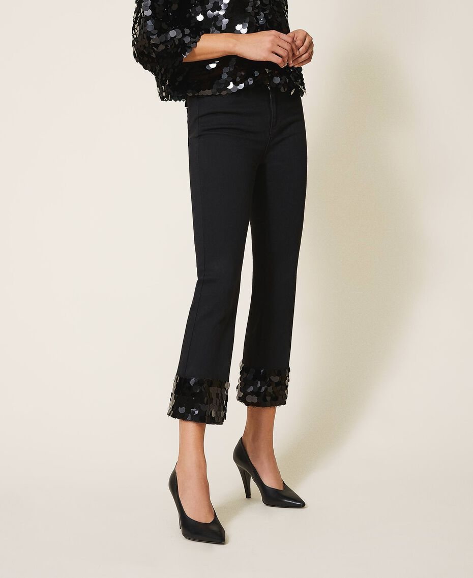 Flared jeans with sequins Black Woman 202MT2124-02