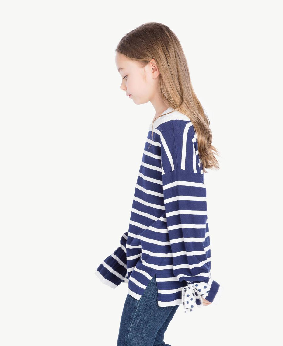 "Striped maxi pullover Ocean Blue / ""Papyrus"" White Stripes / Flower Print Child GS83BA-03"