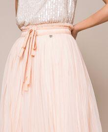 Jupe mi-longue en tulle plissé Quartz Rose Femme 201MP2122-03