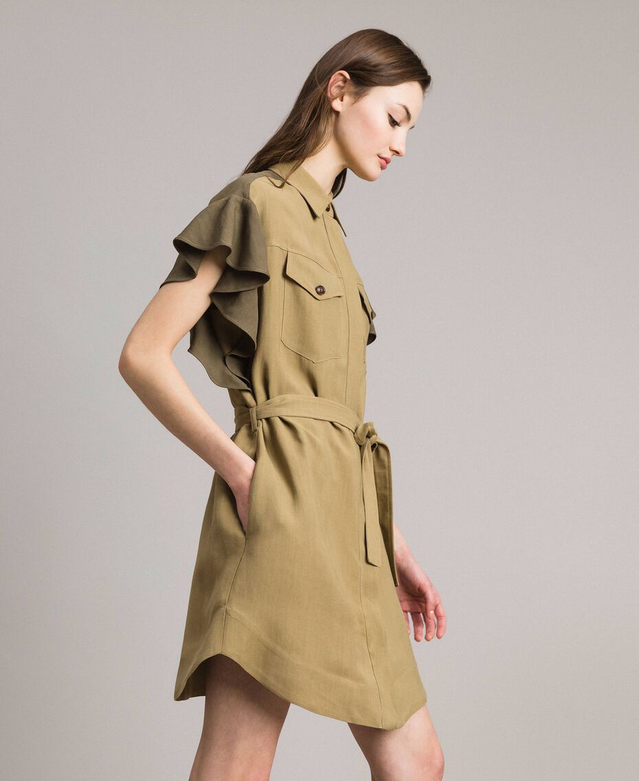 "Natural canvas two-tone shirt dress Two-tone ""Olive"" Green / Antique Bronze Woman 191TT2440-03"