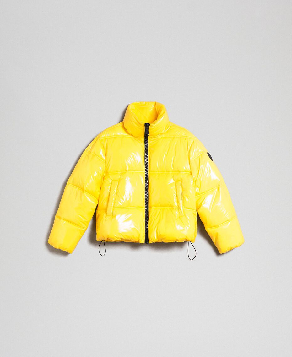 Patent leather effect short puffer jacket Yellow Woman 192MT2070-0S