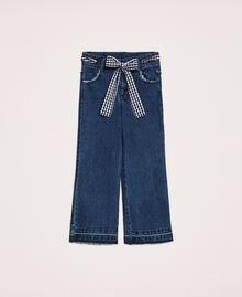 Jeans wide leg con cintura Bicolor Denim Medio / Vichy Bambina 201GJ2011-0S