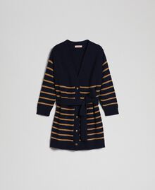 Wool blend maxi cardigan with lurex stripes Midnight Blue Striped / Dark Gold Woman 192TT3361-0S
