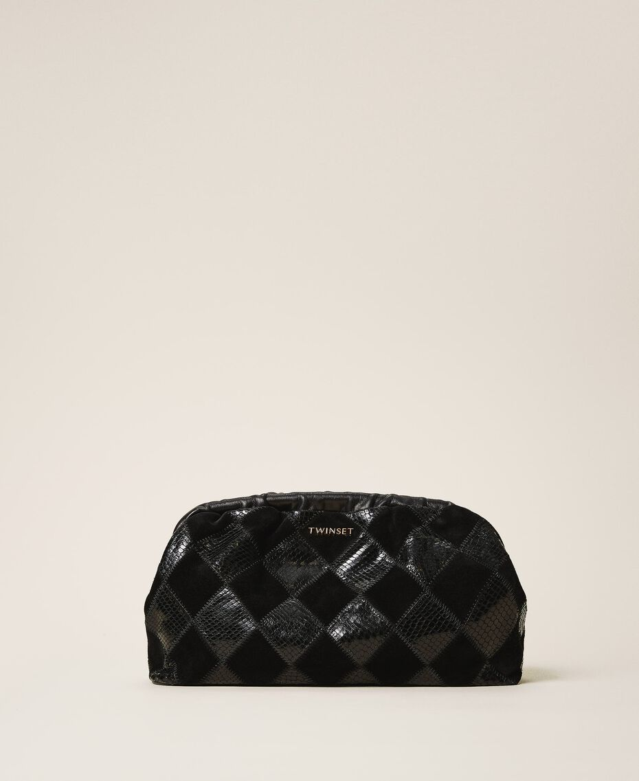 Diamond leather maxi pochette Two-tone Black / Black Diamonds Woman 202TD8033-01