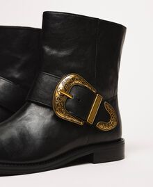 Leather biker boots with maxi buckle Black Woman 201TCP058-03