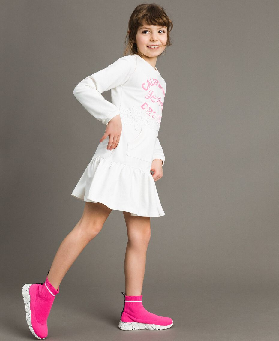 Fleece dress with lace and print White Child 191GJ2042-02