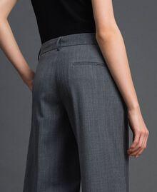 Wide-Leg-Hose aus technischem Wollgewebe Dunkelgrau-Mélange Frau 192TP2351-03