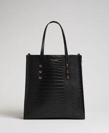 Crocodile print faux leather shopping bag Black Crocodile Print Woman 192TA7276-03