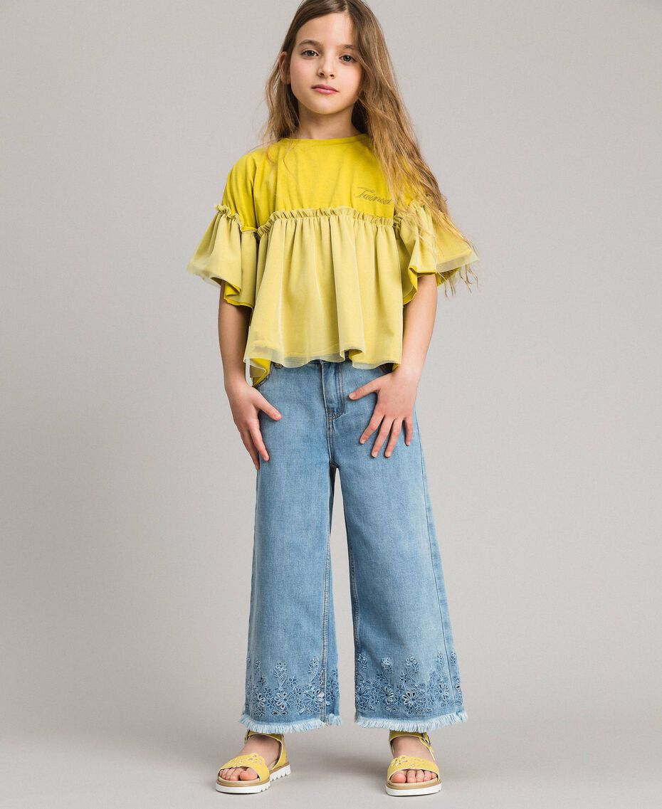 Wide leg jeans with broderie anglaise embroidery Light Denim Child 191GJ2250-02