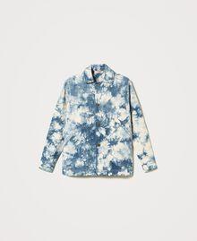 """Tie-dye jacket """"Snow"""" White / Light Blue Tie Dye Woman 211TT2544-0S"""