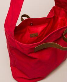 Canvas shopper with shoulder strap True Red Woman 201LM7ZKK-04