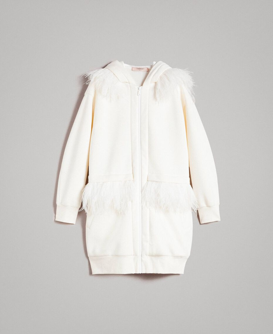 """Long scuba bomber with feathers """"Silk"""" White Woman 191TP2068-0S"""
