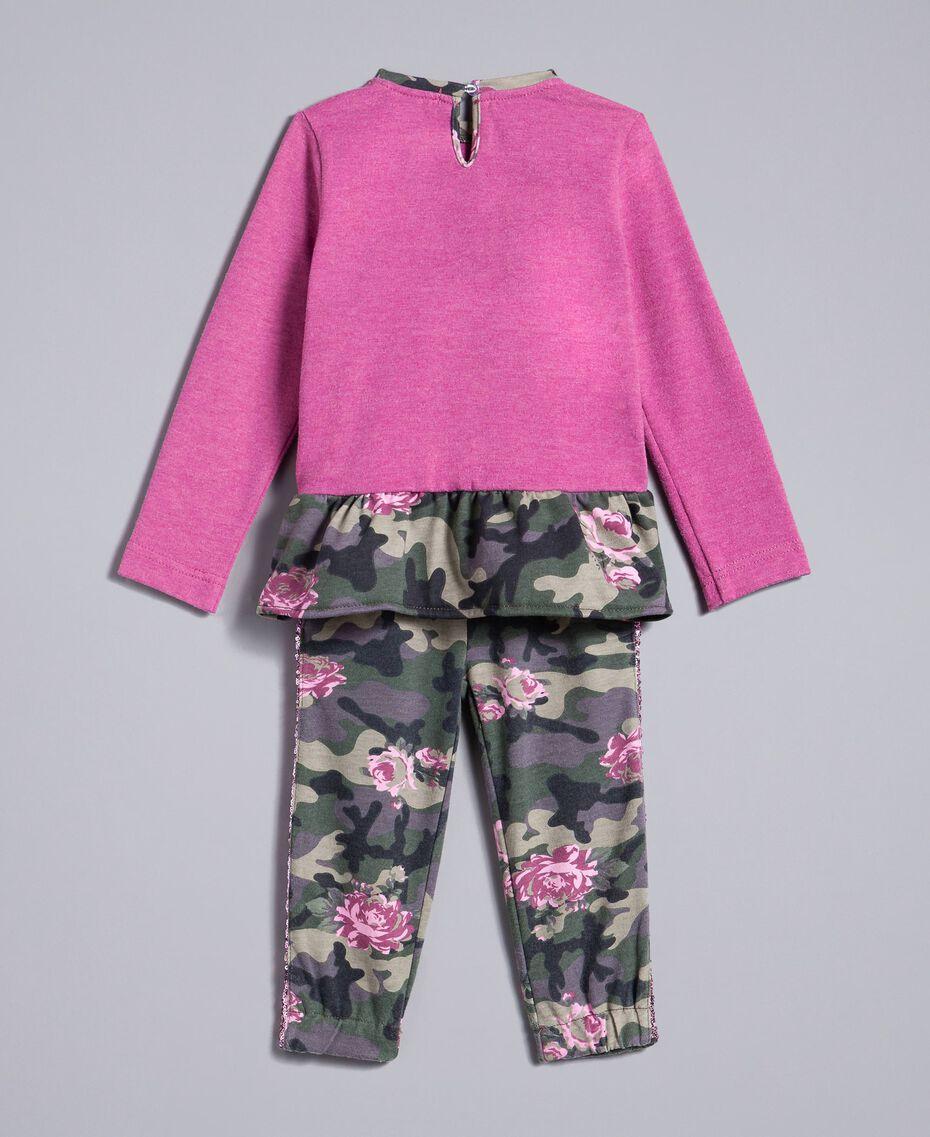 "Sweatshirt mit Stern und Jogginghose Zweifarbig ""Bougainville""-Rosa / Camouflage Kind FA82N2-0S"